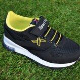Детские кроссовки Xtep черные с желтым Nike Adidas р26 - 30