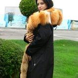 Парка с натуральным мехом лисы 110 см