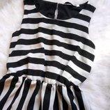 Легкое шифоновое платье в полоску с подкладкой черное белое на резинке New Look