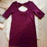 Короткое фиолетовое платье с открытой спиной и бантами хлопок прямое Topshop