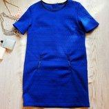 Яркое синее электрик платье с рукавами замками батал большой размер нарядное теплое Esmara