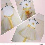 Платье детское нарядное пышное желтый мак