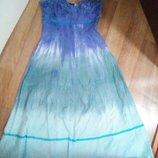 Сарафан длинный голубой