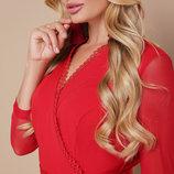 Красное платье с воланом по низу Батал
