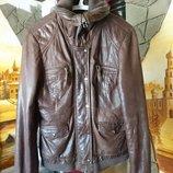 Кожаная утепленная куртка косуха Р-Р L цвет шоколад