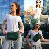 Кожа. Ручная работа. Кожаная женская сумка сумочка на пояс. Поясная сумка бананка зеленая, синяя