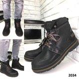 Ботинки мужские зима высокие кожа люкс качество