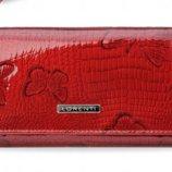 Стильный кожаный кошелек Lorenti лак красный Италия код 332
