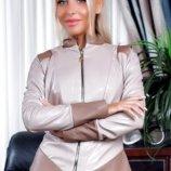Кожаная куртка женская 3 цвета 42,44,46