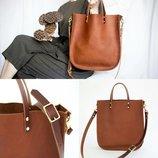 Кожа. ручная работа. вместительная кожаная коричневая сумка, сумочка, шопер, шоппер