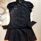 Идеальное синее джинсовое платье с пышной юбкой и поясом короткий рукав