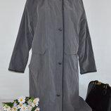 Брендовая Серая Демисезонная Коттоновая Утепленная Куртка на Молнии с Капюшоном и Карманами TIKLAS Н