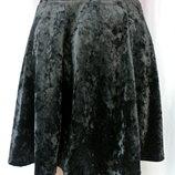 Новая.стильная брендовая юбка Select из черного мраморного велюра.Размер uk12 M .