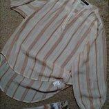 Bik bok модная удлиненная рубашка/блузка/туника в полоску с широким рукавом s-m