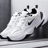 Скидка. Как оригинал. Бесплатная доставка. Кожаные Кроссовки Nike М2K Tekno черно-белые KS 586
