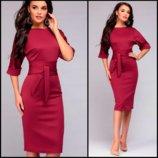 Бордовое женское платье с поясом Afina код 164