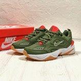 Как Оригинал. Бесплатная доставка. Кожаные Кроссовки Nike М2K Tekno зеленые KS 589