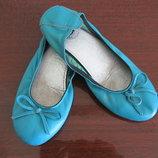 Кожаные туфли балетки на девочку 34