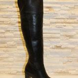 Сапоги ботфорты женские зимние черные на каблуке натуральная кожа С618
