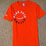 Яркая оранжевая оригинальная мужская бесшовная футболка с принтом 75 грн