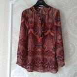 Размер 12,12-14 Стильная фирменная шифоновая блузка блуза