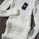 Стильное,теплое вязаное молочное,силуэтное платье миди , с-м-л, 12 цветов