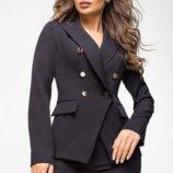 Жакет женский черный двубортный из костюмной ткани