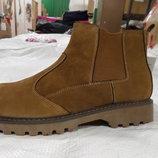 Ботинки, полусапоги мужские новые зимние, демисезон на резинке по бокам, утепленные внутри, легкие