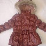 Фирменная Next шоколадная куртка девочке 2-3 лет в новом состоянии
