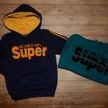 Утеплені толстовки для хлопчиків Супер Бой
