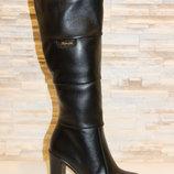 Сапоги женские зимние черные натуральная кожа на каблуке С660