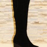 Сапоги женские зимние черные на каблуке натуральная замша С661