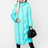 Зимнее пальто для беременных, аквамарин с черным