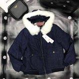Джинсовая теплая куртка 8132 Размер s, m, l, xl Теплая джинсовая куртка-парка для зимнего периода