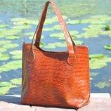 Натуральная кожа Кожаная сумка Венеция крокодиловая рыжая