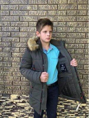 куртка парка зимняя на мальчика хаки синий удлиненная