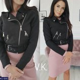 Женская замшевая куртка косуха