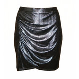 Новая серебристая юбка с металлическим блеском фольга асимметрия H&M размер L