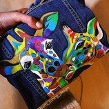 Ручная роспись куртка с ручной росписью джинсовка джинсовая куртка Любой Рисунок