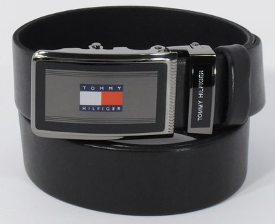 Кожаный ремень автомат мужской Tommy Hilfiger 8006-315 черный, коричневый, темно-синий