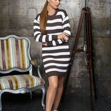 Женское двухцветное вязаное платье Лиза 6 цветов