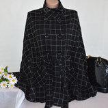 Брендовое Черное Демисезонное Шерстяное Пальто Пончо в Клетку с Поясом и Карманами NEW LOOK