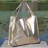 Натуральная кожа Кожаная женская сумка Mesho золото