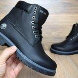Зимние женские ботинки Timberland black, кожа