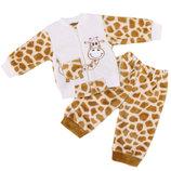 Комплект ясельный вышивка жираф, велсофт рост 68-86
