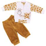 Комплект ясельный с вышивкой жираф, велсофт рост 68-86