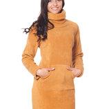 Теплое женское флисовое платье