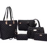 Шикарный большой стеганый дутый набор женских сумок 6в1 В Наличии