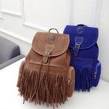 Большой замшевый рюкзак с бахромой В Наличии