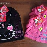Красивый комплект шапка и перчатки Китти Минни Мау Эльза софия Скай и др Дисней